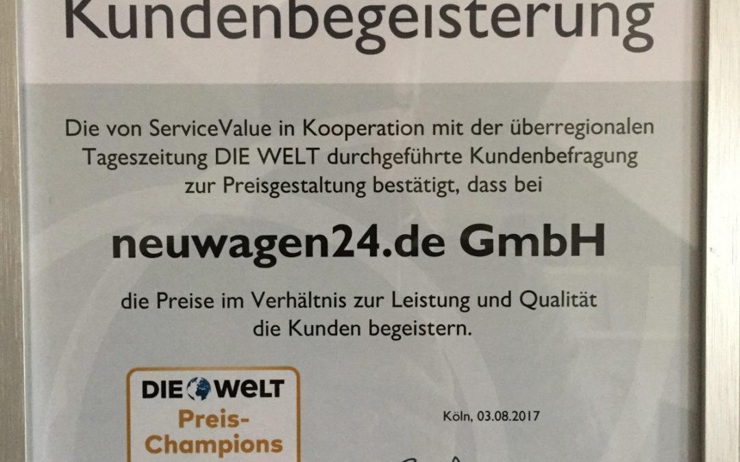 neuwagen24.de erhält Auszeichnung als Deutschlands bestes Portal für Neuwagen