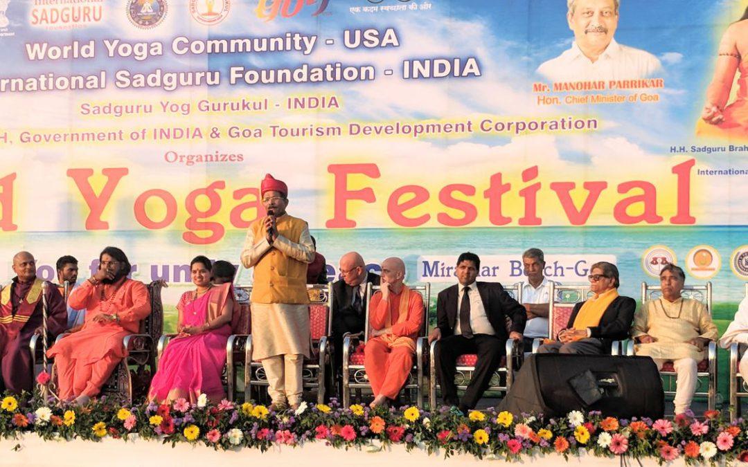 Das internationale Yogafestival in Goa, Indien